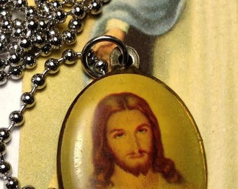 Sacred Heart of Jesus Religious Medal Picture Pendant Necklace Long Steel Chain Upcycled