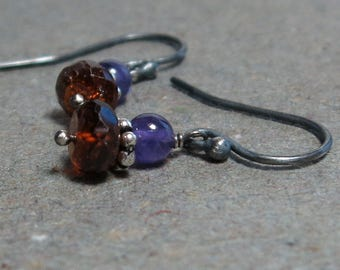 Mandarin Garnet, Amethyst Earrings January, February Birthstone Orange Purple Oxidized Sterling Silver Earrings