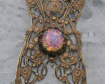 Vintage French brass filigree pendant component set with an old glass opal..
