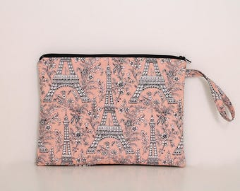 Ipad Mini sleeve, Eiffel Tower, Ruffle wristlet, Kindle, notebook, tablet, Charger cord bag, Pink Gray French purse, minimalist zipper pouch