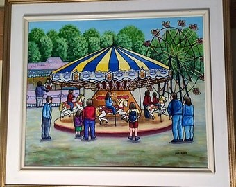 Carousel, Original Acrylic naive painting by Jordanka Yaretz, UNICEF Artist