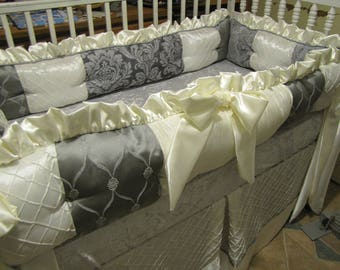 Custom Crib Set Grey Silver and Ivory Ask about other Colors