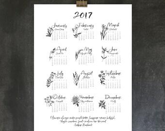 2017 flower calendar, 18x24