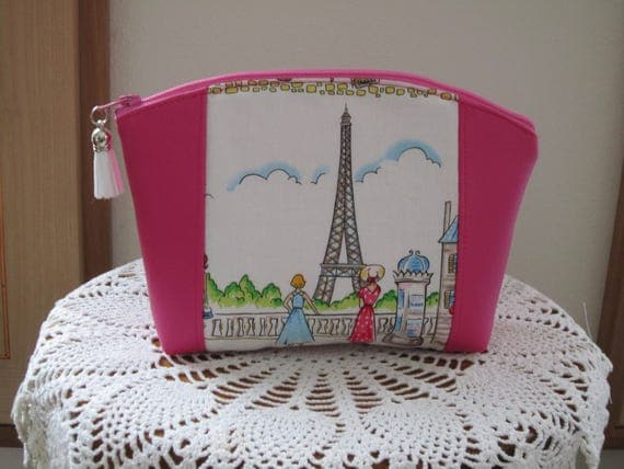 Paris Cafe Rouge Eiffel Tower Medium Clutch Cosmetic Bag  Purse Bridesmaid Gift Essential Oils Case Toiletry Kit Travel Case Camera Bag