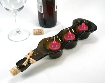 Dark Amber Wine Bottle Triple Votive Candle Holder with Cork and Raffia - Snack Bowl - Recycled Eco-Friendly