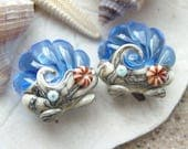 Medium Blue Ocean Scallop Seashell PAIR - Set of 2 Beads - SRA Glass Lampwork