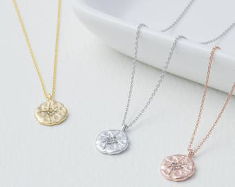 Crystal Star Hammered Disc Necklace