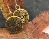 Gold Labyrinth Everyday Earrings Jewelry Small Tiny Spiritual Unique Christmas Gifts For Women Her Stocking Stuffer Simple Bridesmaid Favor