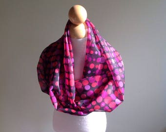 "Infinity Scarf-Black & PinkPolka Dot-6"" by 56""-Handmade USA-Tween Ladies"