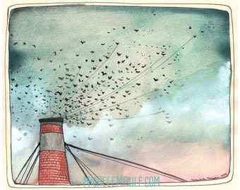 Art - Art Print - Swift Art - Portland Art - Portland's Chapman Swifts - Watercolor Art - 8x10 Print - Birds in Flight - Chapman Swifts