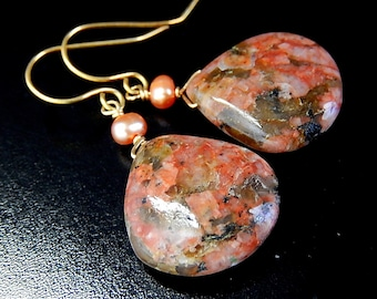 Poppy Jasper Earrings, Peach Pearl Gold Drop Earrings