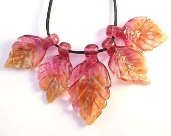 Pink leaf beads, Five Lampwork glass leaves, handmade Jewelry Making, beading, Craft Supplies,SRA, ooak, SRAJD