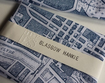 Glasgow Hankie - screen printed vintage map handkerchief
