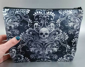 Damask Skull - Zippered Purse - Zippered Pouch - Blue - Black - White - Make-up Bag - Art pens and pencil case - Gothic - Skulls