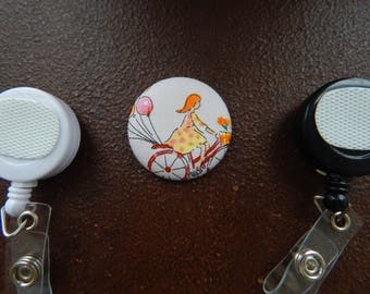 Fabric Covered Button for Clip on Retractable Badge Reel - Girl Riding Bike with Balloons