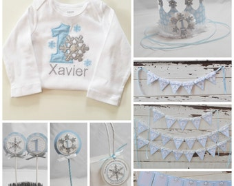 Winter Onederland 1st Birthday Ultimate Party Package Boy