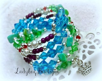Ariel-inspired Wraparound Bracelet Memory Wire Disney Princess Girl or Adult ~ Little Mermaid ~ Under the Sea