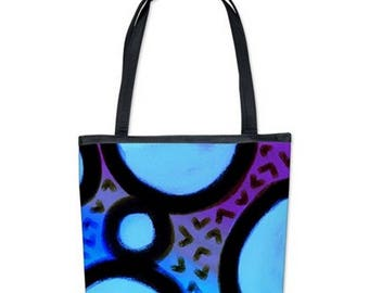 Blues Abstract Art Handbag Shoulder Bag Purse My Funky Abstract Digital Painting