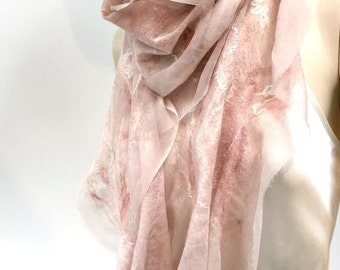 Felt Earthtones Scarf - nude colors sheer cashmere-soft nuno wool merino silk