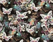 Michael Miller Filigree Flutter Black Butterflies Fabric By the Yard, Half Yard  Fat Quarter, Sewing Fabric,Quilting Craft Fabric,  #1132