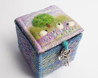 Harris Tweed and Felt Trinket Box with Tree and Sheep