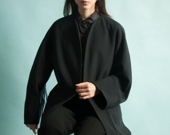 black pure wool jacket / black minimalist coat / black simple jacket coat / s / 2050o / R5