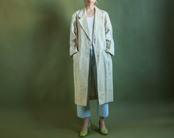 beige linen woven coat / long linen blazer coat / linen oversized jacket / s / 2087o / R4