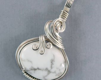 White Howlite Sterling Silver Pendant wire wrapped sculpted white pendant stone