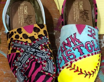 Custom Painted Toms, Handpainted Slip ons Shoes, Softball Team Mascot, Pistols, Panthers, YOUR TEAM, Gift for Female Athlete, Birthday Girls