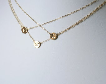 Triple Layer Gold Initial Necklace, Layering Necklace, Personalized Necklace - Three Charms Discs Necklace - 14k gold filled