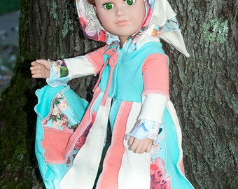 18 inch doll clothes, American made doll gipsy coat, doll pixie hood coat, doll elf jacket, girl doll mint coral jacket, doll unique gift