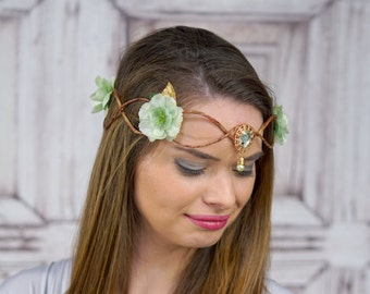 Elven Crown, Gold and Pale Green, Elven Headdress, Fairy Crown, Costume Headpiece, Headdress, Flower Crown, Floral Crown, Woodland Crown