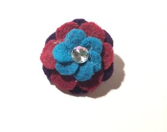 Handmade Cerulean, Fuschia, and Purple 1.75in Felt Flower Pin