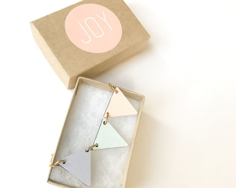 Bunting necklace laser cut pastel colour