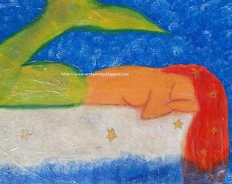 Sparking Starfish - Mermaid with Starfish Original Mixed Media Painting