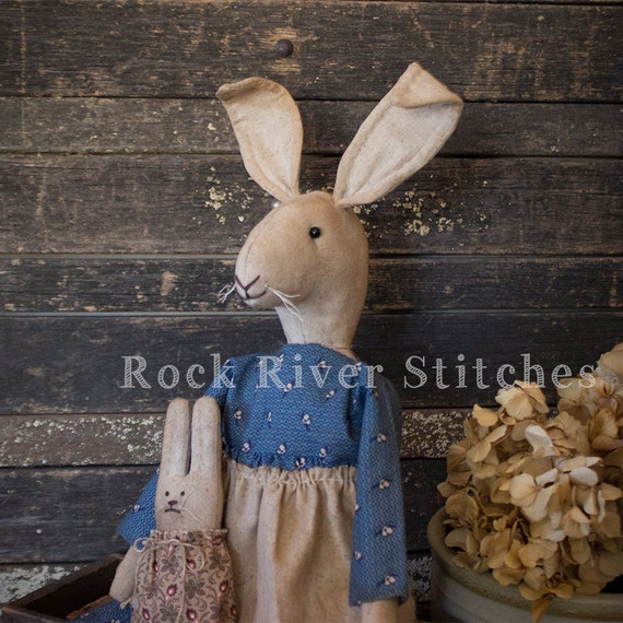 Primitive Easter Mama Bunny and Baby Doll, Primitive Folk Art, Rabbit Doll, Spring Decor, Bunny Rabbit