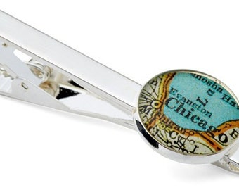 Chicago Tie Clip  Vintage Map Tie Bar Tack  Atlas Free Shipping Gift for Groomsmen or Boss