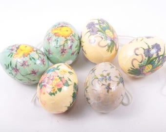 Decopage, Easter Ornaments with Crazing, Painted Easter Eggs, Floral, Pastels, Chicks, Vintage ~ The Pink Room ~ 160912