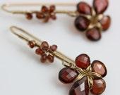 Red Garnet Flower Dangle Earrings. Gift for Her. January Birthstone.