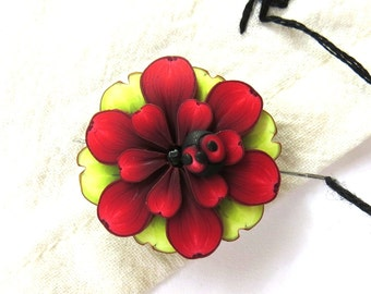 Red Flower with a Ladybug Needle Minder, Needle Nanny Handcrafted from Claybykim