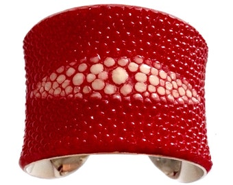 Bright Red Center Cut Stingray Silver Lined Cuff - by UNEARTHED