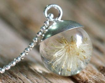 Mini Dandelion Resin Necklace with Silver Chain, Dandelion Pendant, Resin Necklace, Resin Pendant, Resin Jewelry, Bridal, Wedding