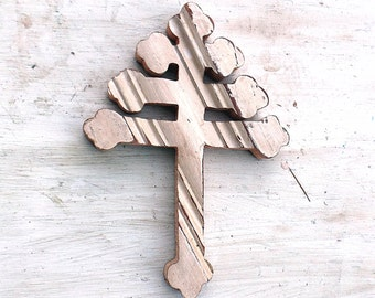 Maronite Salvaged Wood Cross, Lebanese Cross, Wooden Wall Cross, Reclaimed Wood Cross, Christian Decor, Religious Wall Art, Rustic Cross