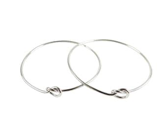 Rhodium Plated Wire Knot Bangle Bracelet (1x) (K401-B)