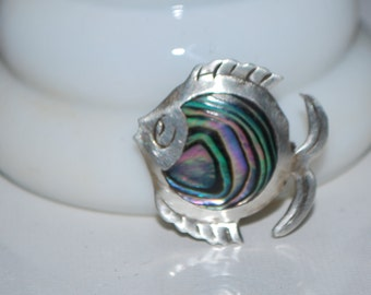 Vintage Sterling Silver Fish Brooch Abalone Shell Mexico 925 Pin