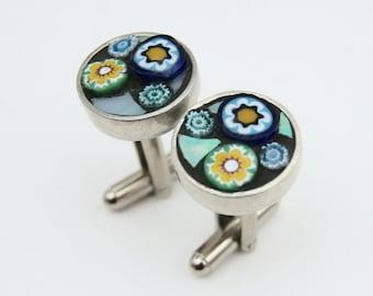 Mosaic Cuff Links - Blue