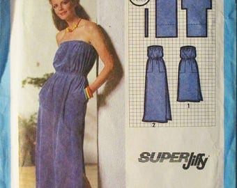 1970s Vintage Sewing Pattern Simplicity 9032 Misses Super Jiffy Pullover Dress Pattern Strapless Dress Size Petite 6-8