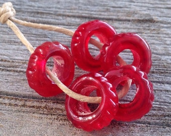 Big Hole Valentine's Day Red Sliders Lampwork Beads SRA
