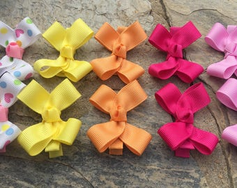 14 Mini Hair Bows,Pigtail Hair Bows,Alligator Clips,Non Slip Hair Bows,Birthday Party Favors,Ready to Ship