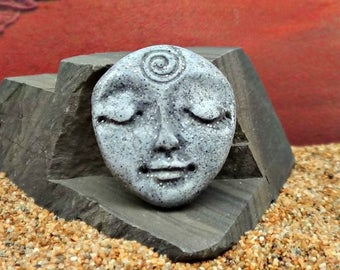 Art Doll Face Cabochon in Faux Basalt Stone - handmade